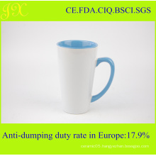 Wholesale Eco-Friendly V-Shape Sublimation Ceramic Coffee Mug with Inner and Handle Color
