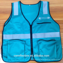 Customized size blue safety police reflective vest