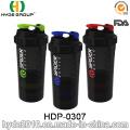 500ml BPA gratis botella de la coctelera de araña plástico, botella de la coctelera del plástico de la proteína (HDP-0307)