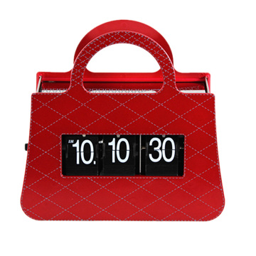 Red Ladies Handbag Flip Table Clock