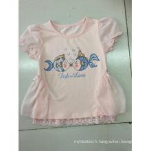 Robe de t-shirt bébé mignon dans les vêtements d'enfants avec tissu net (SGT-001)
