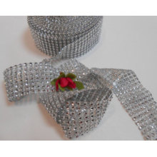 Mode Silver Color Decorative Poly Mesh Ribbon Hot Diamante Style Wrap Crafting Bridal