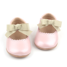 Pink Bowknot Läder Baby Girl Dress Skor