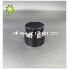 Pot cosmétique de pot de verre d'ambre de 30g pour la crème faciale avec le chapeau en aluminium