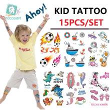 Hot Sale 15PCS/Set Temporary Children Tattoo Stickers Set, Funny Cartoon Small Kid Children Tattoo Stickers