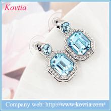 Moda jóias brinco azul sapphire brinco descobertas 316l aço inoxidável médico brinco stud