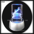 3d laser etched crystal buddha crystal crafts with led base