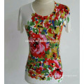 PK17ST088 colorful printed pullover short sleeves women clothes