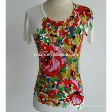 PK17ST088 pull imprimé coloré manches courtes femmes vêtements