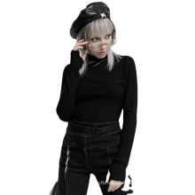 Punk style spring women shirt halter long sleeve embroidery black knit T shirtsOPT-569T ladies clothes wholesale price PUNK RAVE