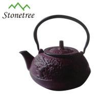 Pot de thé en fonte à revêtement émaillé pourpre