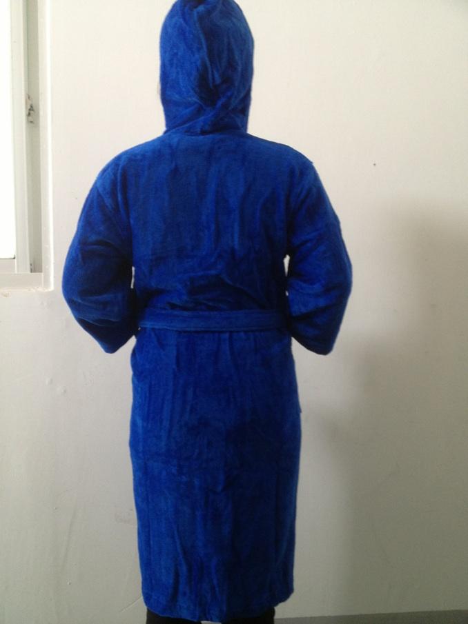 100%cotton velour terry hooded bathrobe
