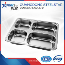 Rectangular disposable stainless steel 304 fast food serving tray plate with compartment