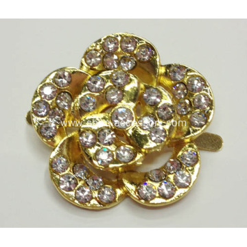 2.8cm Flower Alloy Shoe Buckle with Rhinestone