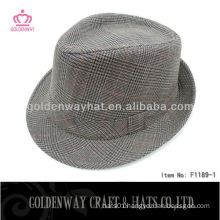 Men's checked fedora snapback hats