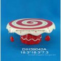 Hand-Painted Ceramic Cake Stand for Christmas Decoration