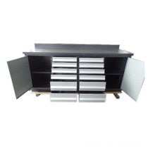 Top quality 12 drawers metal tool garage cabinet with 2 doors