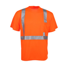 Alta calidad 100% poliéster reflexivo camiseta con bolsillo