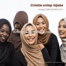 Funckly hot whosale bolha borlas muçulmanas torção lenço de algodão hijab