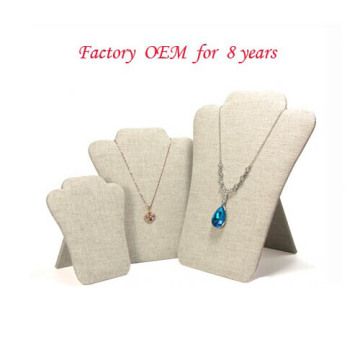Beige Flock Cardboard Paper Jewelry Pendant Display (PD-BF-K1/ PD-BF-K2/ PN-BF-K3)