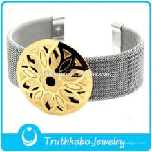 F-B0221 Brazalete de joyería ajustable para mujer, accesorio de oro, pulsera de cinturón de plata.