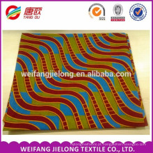 Tecido de impressão de cera Africano ondulado vermelho fundo quadrado