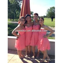 Real sample!Promotion a line sweetheart pleats knee length coral chiffon bridesmaid dress brides maid dress JBD034