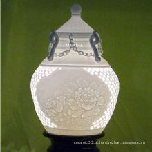 Doméstica real cerâmica lâmpada perfurada máscaras, lâmpada de porcelana máscaras