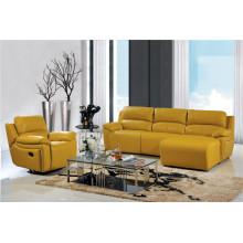 Sofá de cuero reclinable para la forma de L Sala de estar usada