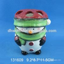 Alta calidad cepillo de dientes de cerámica titular forma de muñeco de nieve de Navidad