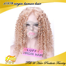 100% Peruvian hair Curly #27 human lace wigs with high density