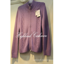Men′s Cashmere Wool High Neck Cardigan with Cables Computerized
