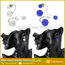 Stainless Steel Bling Bling Double Rhinestones Crystal Fireball Disco Ball Front Back Hoop Stud Earrings