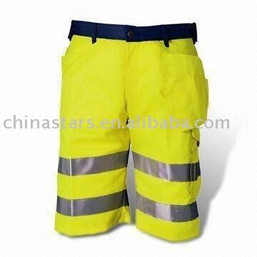 100% poliéster de alta visibilidad pantalones de seguridad reflectante