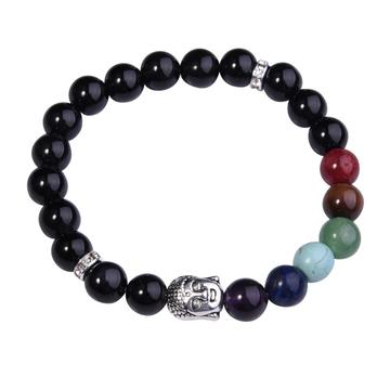 Black Onyx Bracelet Buddha 7 Chakra Gemstone Alloy Beads Jewelry