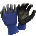 NMSAFETY blau cotado PU Handschuh usar luvas de segurança trabalhando glvoes EN388
