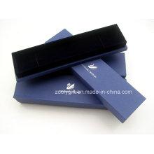 Caixa de jóias de papel especial com prata quente carimbado logotipo colar caixa