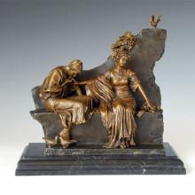 Figura clásica de la pareja de estatuas de amor escultura de bronce TPE-1009