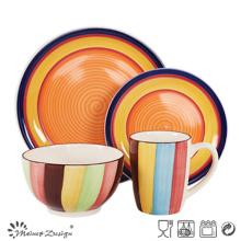 Juego de cena de cerámica de 16 piezas con diseño pintado a mano a todo color