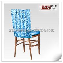 Cores de moda diferentes disponíveis personalizado casamento por atacado azul cadeira cobertura
