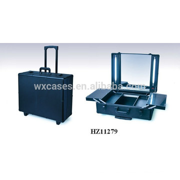 luxury aluminum rolling makeup case with lighted mirror from China factory