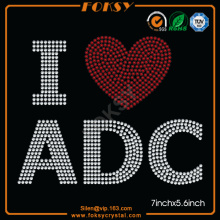 I Love ADC Heart rhinestone t shirt designs