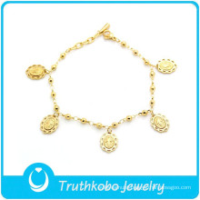 TKB-B0092 Costume charm jewelry high quality rosary beads 316L stainless steel prayer bracelets with Virgin Mary