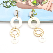 Custom color long acrylic and alloy ear ring for women white gold chain earrings