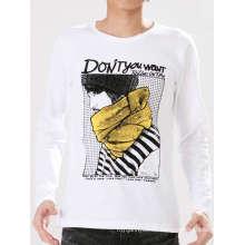 Impresión de algodón de moda personalizado blanco y negro Hombres camiseta