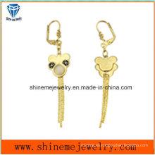 Pendiente de la gota para el oído del acero inoxidable de la joyería de la manera plateada oro (ERS7002)