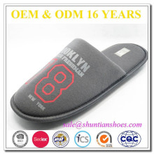 Personalized grey men cheap hotel/home slippers printed with logo