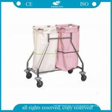 АГ-SS019 Нержавеющая сталь одевает больница белье тележки с четырьмя колесами