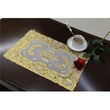 Popular impermeável de Tablemat do ouro do laço do PVC do tamanho 30 * 46cm popular no café / em casa