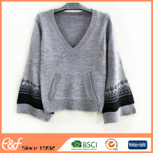 V Neck Latest Fashion Stylish Pullover Cashmere Sweater Women